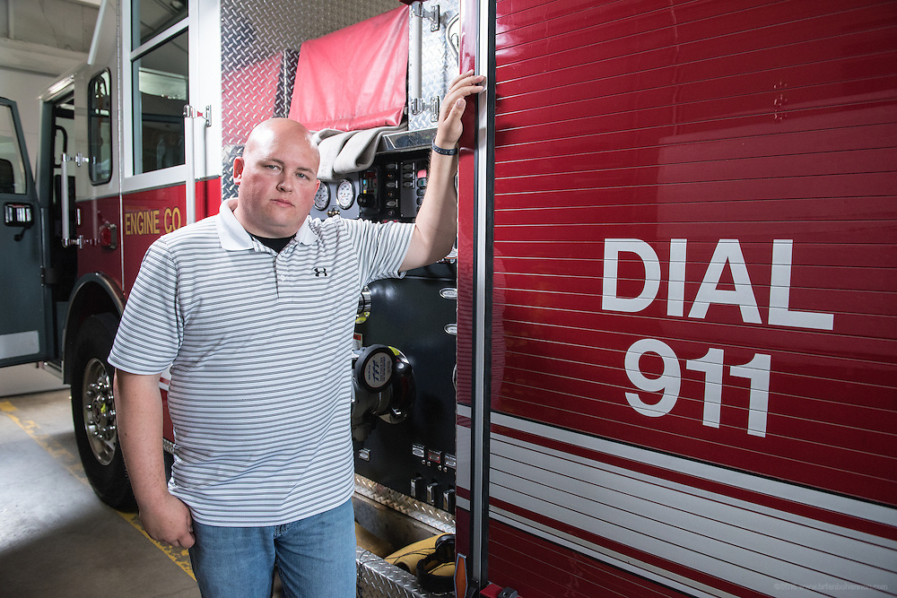 Nick Noland, 33, firefighter and EMS, a patient of Cardiologist J. Kenneth Ford, MD, photographed Tuesday, May 12, 2015 at his fire station in Paducah, Ky. (Photo by Brian Bohannon/Videobred for Baptist Health)