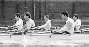 London. United Kingdom.  1987 Pre Fixture, Varsity Boat Race. National Squad vs Cambridge University BC on the Championship Course Mortlake to Putney. River Thames.  Saturday 21.03.1987<br /> <br /> [Mandatory Credit: Peter SPURRIER/Intersport images]<br /> <br /> National Squad, John GARRETT, Martin CROSS.<br /> <br /> CUBC.  Crew Bow. Ian CLARKE, Richard SPINK, Nicholas GRUNDY, Matt BRITTIN, 19870321 Pre Boat Race fixture, National Squard vs Cambridge UBC, London UK