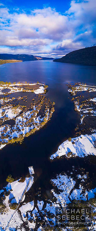 An aerial photograph of the mouth of the Narcissus River, draining into Lake St Clair, taken during Winter.<br /> <br /> Limited Edition Print