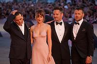 Actor Johnny Depp, actress Dakota Johnson, director Scott Cooper and Joel Edgerton at the gala screening for the film Black Mass at the 72nd Venice Film Festival, Friday September 4th 2015, Venice Lido, Italy.