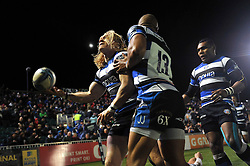 Tom Biggs (Bath) celebrates scoring the opening try of the match - Photo mandatory by-line: Patrick Khachfe/JMP - Tel: Mobile: 07966 386802 16/01/2014 - SPORT - RUGBY UNION -  The Recreation Ground, Bath - Bath Rugby v Bordeaux-Begles - Amlin Challenge Cup.