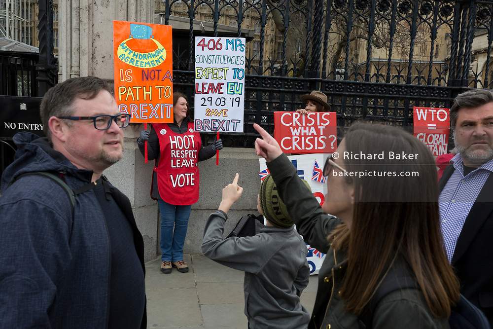 As Prime Minister Theresa May petitions European leaders in Brussels, this time to persuade the European Council to accept a delay of the UK's Brexit Article 50, Brexiteers protest outside parliament in Westminster, on 21st March 2019, in London, England.