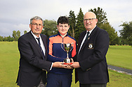 Dave Ward Captain Ballinasloe Golf club and Michael Heeney Connacht Golf presents Lucas Lyons (Limerick) winner of the Connacht U14 Boys Amateur Open, Ballinasloe Golf Club, Ballinasloe, Galway,  Ireland. 10/07/2019<br /> Picture: Golffile | Fran Caffrey<br /> <br /> <br /> All photo usage must carry mandatory copyright credit (© Golffile | Fran Caffrey)