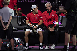 September 21, 2018 - Chicago, Illinois, U.S - DIEGO SCHWARTZMAN of Argentina talks with Team World coach JOHN MCENROE during the third singles match on Day One of the Laver Cup at the United Center in Chicago, Illinois. (Credit Image: © Shelley Lipton/ZUMA Wire)