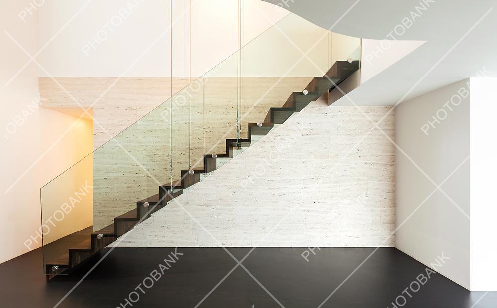 Architecture, beautiful interior of a modern villa, staircase