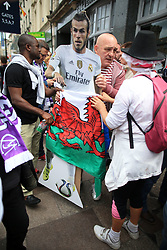 3rd June 2017 - UEFA Champions League Final - Juventus v Real Madrid - Madrid fans carry a cardboard cut-out of Gareth Bale through the streets - Photo: Simon Stacpoole / Offside.