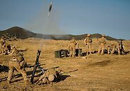 An 82mm mortar shell is fired by Marines from the 2nd Battalion, 5th Marine Regiment during live-fire exercises at Camp Pendleton.