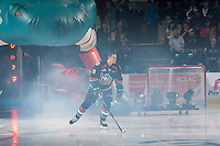 KELOWNA, CANADA - SEPTEMBER 24: Tanner Wishnowski #9 of the Kelowna Rockets enters the ice against the Kamloops Blazers on September 24, 2016 at Prospera Place in Kelowna, British Columbia, Canada.  (Photo by Marissa Baecker/Shoot the Breeze)  *** Local Caption *** Tanner Wishnowski;