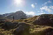 Hiking near the Munkebu Huts, above Sørvågen in the Lofoten Islands, Norway