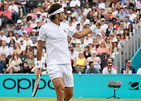 Tennis - 2019 Queen's Club Fever-Tree Championships - Day Seven, Sunday<br /> <br /> Men's Singles Final: Feliciano Lopez (ESP) Vs. Gilles Simon (FRA)<br /> <br /> Feliciano Lopez (ESP) celebrates on Centre Court.<br />  <br /> COLORSPORT/DANIEL BEARHAM