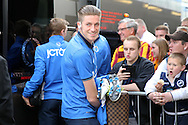Reece Burke of Bradford City (who is on loan from West Ham United) arrives off the team bus into The Den Stadium as Millwall fans look on booing the player. Skybet football league one play off semi final 2nd leg match, Millwall v Bradford city at The New Den in London on Friday 20th May 2016.<br /> pic by John Patrick Fletcher, Andrew Orchard sports photography.