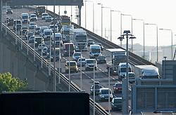 ©Licensed to London News Pictures 13/05/2020<br /> Dartford, UK. Traffic on the Queen Elizabeth II bridge in Dartford, Kent. After seven weeks of Coronavirus lockdown people start to head back to work this morning. Photo credit: Grant Falvey/LNP