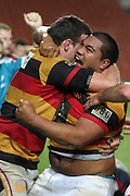 A happy Ted Tauroa after he scores his try during their Round 5 ITM cup Rugby match, Waikato v Tasman, at Waikato Stadium, Hamilton, New Zealand, Friday 29 July 2011. Photo: Dion Mellow/photosport.co.nz