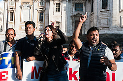 October 7, 2018 - Rome, Italy, Italy - Muslim demonstration in the neighborhood in Piazza Esquilino, against government policies after the law on the security decree, where migrants will claim more rights on Italian soil and a protection of their places of prayer, The organizer of the demonstration and Bachcu Dhuumcati, president of the homonymous association pro-migrantes . on October 7, 2018 in Rome, Italy  (Credit Image: © Andrea Ronchini/NurPhoto/ZUMA Press)