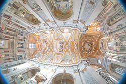 A fisheye view of the ceiling of the Santa Maria Assunta detta I Gesuiti church in Venice. From a series of travel photos in Italy. Photo date: Tuesday, February 12, 2019. Photo credit should read: Richard Gray/EMPICS