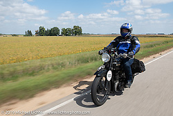Charles Falco riding his 1928 Ariel model C on the Motorcycle Cannonball coast to coast vintage run. Stage 7 (274 miles) from Cedar Rapids to Spirit Lake, IA. Friday September 14, 2018. Photography ©2018 Michael Lichter.