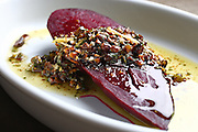 Organic roasted cylinder beet, sherry vinegar  and pistachio aillade.<br /> John Lok / The Seattle Times