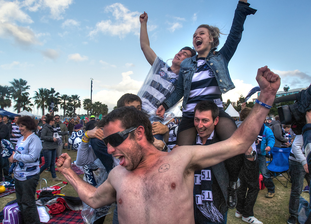 AFL Grand Final 2011, Cllingwood vs Geelong. Gellong Fans watch the game at Steampacket Gardens in Geelong. Pic By Craig Sillitoe CSZ/The Sunday Age.1/10/2011 melbourne photographers, commercial photographers, industrial photographers, corporate photographer, architectural photographers, This photograph can be used for non commercial uses with attribution. Credit: Craig Sillitoe Photography / http://www.csillitoe.com<br /> <br /> It is protected under the Creative Commons Attribution-NonCommercial-ShareAlike 4.0 International License. To view a copy of this license, visit http://creativecommons.org/licenses/by-nc-sa/4.0/.
