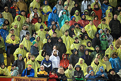 Lithuania fans wearing plastic ponchos to keep the rain off during the 2018 FIFA World Cup Qualifying Group F match at the LFF Stadium, Vilnius.