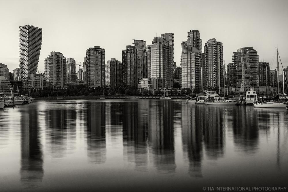 Vancouver Skyline Reflection, Charleson Park (monochrome)
