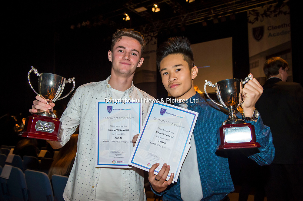 10 October 2017: Cleethorpes Academy Presentation Evening at Grimsby Auditorium. The guest speaker was Aled Jones MBE who presented the awards and also visited the Academy earlier in the day.<br /> (l-r) Dr Aukett Chemistry Award winner Liam McWilliams-Hill and CEO Award winner Athisak Boualivanh. <br /> Picture: Sean Spencer/Hull News & Pictures Ltd<br /> 01482 210267/07976 433960<br /> www.hullnews.co.uk         sean@hullnews.co.uk