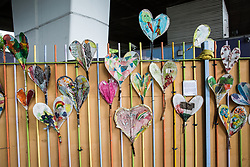 London, UK. 13 June, 2019. Grenfell hearts underneath the Westway close to the Grenfell Tower in North Kensington. Tomorrow, the Grenfell community will mark the second anniversary of the Grenfell Tower fire on 14th June 2017 in which 72 people died and over 70 were injured. Two years on, some family members remain in temporary accommodation and many are still traumatised. Phase 2 of the Grenfell Inquiry will begin in 2020, with criminal investigation findings expected to be sent to the Crown Prosecution Service in 2021.