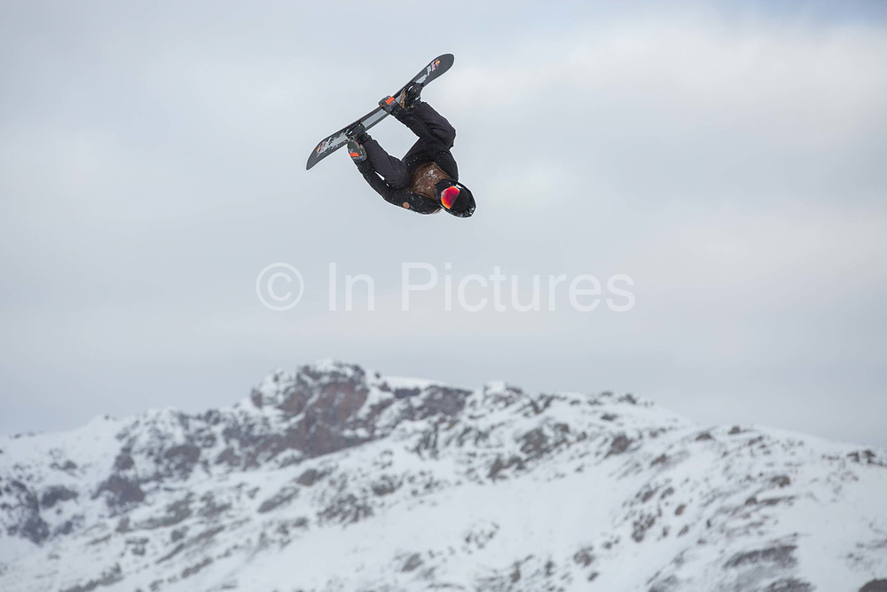 Great British freestyle Snowboarder Billy Morgan from GB Park & Pipe, the freestyle Ski and Snowboard Olympic development team, at their brand new winter training facility in Mottolino Snow Park on 5th December 2017 in Livingo, Italy. The Big Air Bag is the first of its kind and has been developed by the GB Park & Pipe's Hamish McKnight and Lesley McKenna. The air bag was built by BigAirBag company from Holland.
