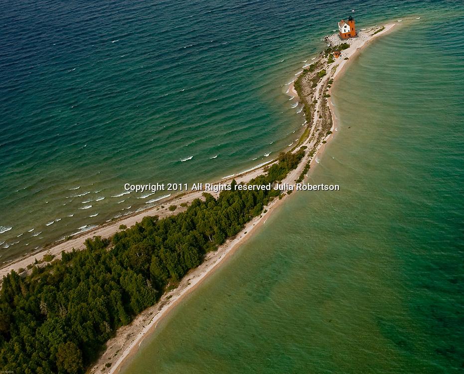 Aerial view of Round Island Lighthouse Mackinac Bridge and Island