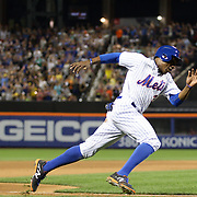 Curtis Granderson, New York Mets, heads home for the Mets third run off a Lucas Duda double in the eighth inning during the New York Mets Vs Washington Nationals. MLB regular season baseball game at Citi Field, Queens, New York. USA. 1st August 2015. (Tim Clayton for New York Daily News)