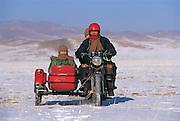 Motorbike & sidecar<br /> near Muron<br /> Mongolia