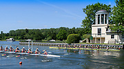 Henley. Berks, United Kingdom. Tideway Scullers School women's eight racing Thames RC, passing the Folly, Temple Island,<br /> <br /> 2017 Henley' Women's Regatta. Rowing on, Henley Reach. River Thames. <br /> <br /> <br /> Saturday  17/06/2017<br /> <br /> <br /> [Mandatory Credit Peter SPURRIER/Intersport Images]