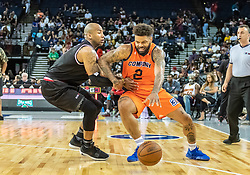 July 6, 2018 - Oakland, CA, U.S. - OAKLAND, CA - JULY 06: Andre Emmett (2) of 3's Company tries moving the ball around Dahntay Jones (1) of Trilogy during game 1 in week three of the BIG3 3-on-3 basketball league on Friday, July 6, 2018 at the Oracle Arena in Oakland, CA (Photo by Douglas Stringer/Icon Sportswire) (Credit Image: © Douglas Stringer/Icon SMI via ZUMA Press)