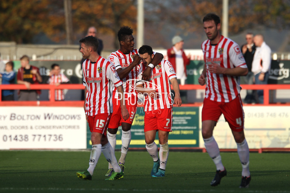 Stevenage FC midfielder Chris Whelpdale celebrates with team mates after his goal during the Sky Bet League 2 match between Stevenage and Oxford United at the Lamex Stadium, Stevenage, England on 31 October 2015. Photo by Jemma Phillips.