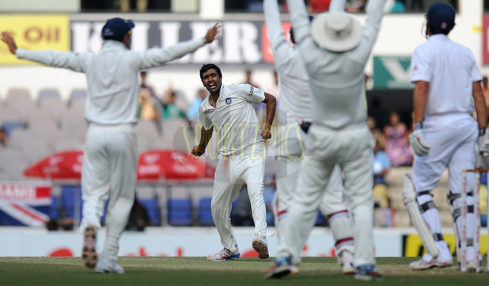 Ravichandran Ashwin of India celebrates the wicket of Alastair Cook captain of England during day four of the 4th Airtel Test Match between India and England held at VCA ground in Nagpur on the 16th December 2012..Photo by  Pal Pillai/BCCI/SPORTZPICS .