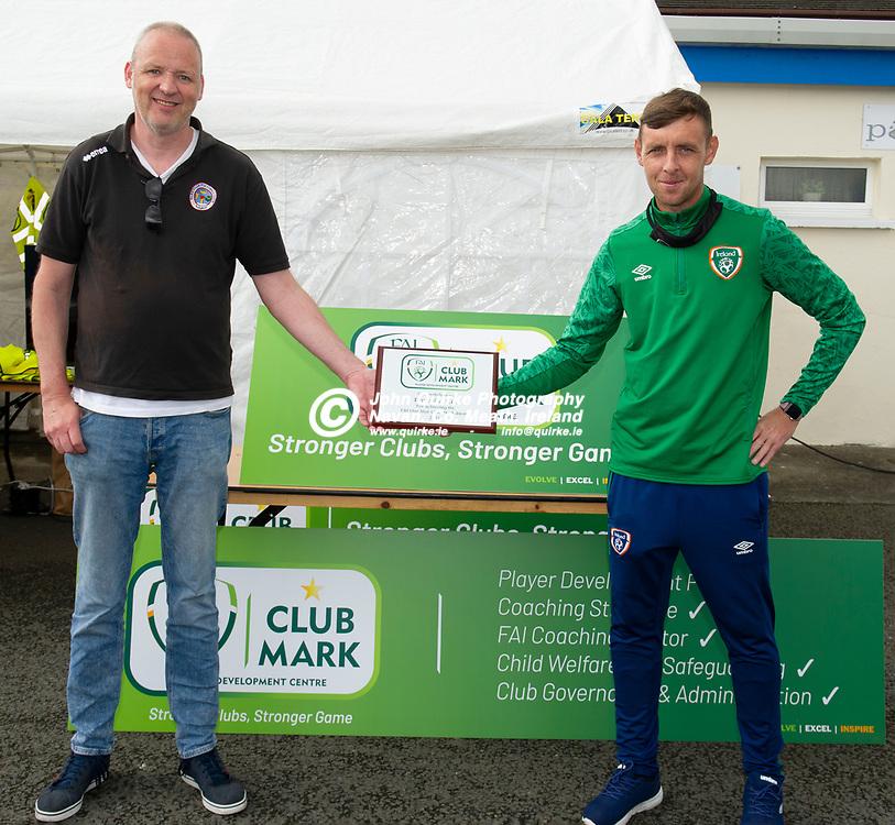 31-07-21. Parkvilla FC - FAI Club Mark One Star Player Development Centre Award.<br /> Derek Niven (left), Chairman, Parkvilla FC and Richard Smith, FAI Meath Regional Development Office.<br /> Photo: John Quirke / www.quirke.ie<br /> ©John Quirke Photography, 16 Proudstown Road, Navan. Co. Meath. (info@quirke.ie / 046-9028461 / 087-2579454).