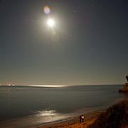 Santa Barbara beach at night.<br /> Santa barbara, CA.