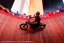 Cody Ives performing in his Ives Brothers Wall of Death  in the Crossroads area of the Buffalo Chip during the Sturgis Black Hills Motorcycle Rally. SD, USA. Thursday, August 8, 2019. Photography ©2019 Michael Lichter.