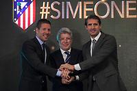 (L-R) Diego Pablo `Cholo´ Simeone, Enrique Cerezo and Jose Luis Caminero during Simeone´s contract renewal announcement as Atletico de Madrid´s coach until 2020, in Madrid, Spain. March 24, 2015. (ALTERPHOTOS/Victor Blanco)