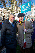 Lord Alf Dubs and Award winning author Sir Michael Morpurgo join supporters of the Child Refugee charity Safe Passage calling on Peers in the House of Lords to back an amendment and uphold refugee family reunion on the 20th of January 2020 in Parliament Square, Westminster, London, United Kingdom. 95% of the children currently receiving legal support from the charity Safe Passage International to reunite with relatives in the UK would not be eligible for family reunion under current UK Immigration Rules.