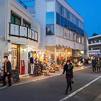 Evening street scene in the Harajuku neighborhood of Tokyo, Japan.
