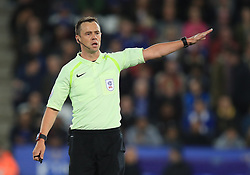 """Referee Stuart Attwell during the Carabao Cup, third round match at the King Power Stadium, Leicester. PRESS ASSOCIATION Photo. Picture date: Tuesday September 19, 2017. See PA story SOCCER Leicester. Photo credit should read: Mike Egerton/PA Wire. RESTRICTIONS: EDITORIAL USE ONLY No use with unauthorised audio, video, data, fixture lists, club/league logos or """"live"""" services. Online in-match use limited to 75 images, no video emulation. No use in betting, games or single club/league/player publications."""