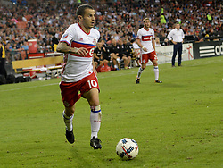 August 5, 2017 - Washington, DC, USA - 20170805 - Toronto FC forward SEBASTIAN GIOVINCO (10) moves the ball into the D.C. United zone, as Toronto FC midfielder NICOLAS HASLER (26) and Toronto FC coach GREG VANNEY watch from behind, during the second half at RFK Stadium in Washington. (Credit Image: © Chuck Myers via ZUMA Wire)