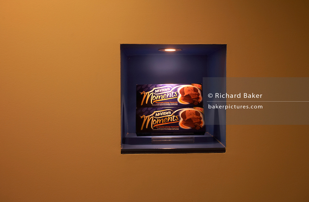 Boxes of Moments shortbread and chocolate biscuits are displayed at the United Biscuits Group offices, Hayes London