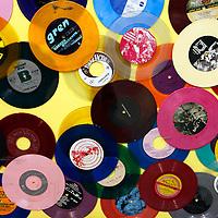 USA, California, Los Angeles. Vinyl 45's at Amoeba Music Store in Hollywood.