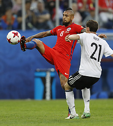 July 3, 2017 - Saint Petersburg, Russia - Arturo Vidal (L) of Chile national team and Sebastian Rudy of Germany national team during FIFA Confederations Cup Russia 2017 final match between Chile and Germany at Saint Petersburg Stadium on July 2, 2017 in Saint Petersburg, Russia. (Credit Image: © Mike Kireev/NurPhoto via ZUMA Press)