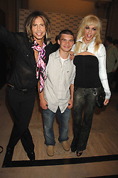 Left to right, STEVE TYLER his son TAJ TYLER and ERIN BRADY at the M.A.C. Viva Glam party featuring a performance by Dita Von Teese of 'Lipteese' held at the Bloomsbury Ballroom, Victoria House, Bloomsbury Square, London on 27th June 2007.<br /><br />NON EXCLUSIVE - WORLD RIGHTS