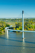 Nebraska.Omaha.Skyline.Bob Kerry Pedestrian Bridge.Foot Bridge. Cable-Stayed Bridge.Missouri River Connects Omaha To Council Bluffs. Iowa.First Ever Pedestrian Bridge To Connect Two States