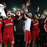 Besiktas's players celebrate victory during their Turkish superleague soccer match Besiktas between Fenerbahce at the BJK Inonu Stadium in Istanbul Turkey on Saturday, 03 March 2013. Photo by Aykut AKICI/TURKPIX