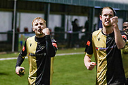 Marine midfieler James Barrigan (11)  and Marine defender Anthony Miley (5) celebrate winning during the The FA Cup match between Marine and Havant & Waterlooville FC at Marine Travel Arena, Great Crosby, United Kingdom on 29 November 2020.