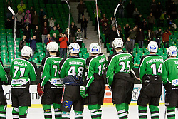 Players greet fans during ice-hockey match between HK Olimpija and HK Partizan at second game in Final round of SLOHOKEJ league, on Februar 18, 2012 at Hala Tivoli, Ljubljana, Slovenia. (Photo By Matic Klansek Velej / Sportida)